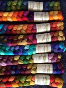 Hand dyed roving from Woolgatherings on Etsy