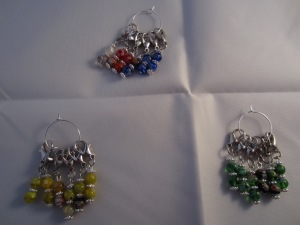 Lobster clasp murano glass stitch markers by Knitting in France