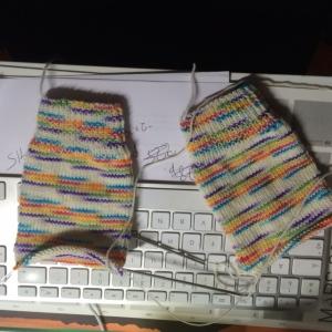 multi coloured yarn knit up into socks by www.knittinginfrance.com
