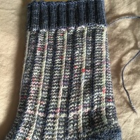 A close up of the slipped stitch pattern