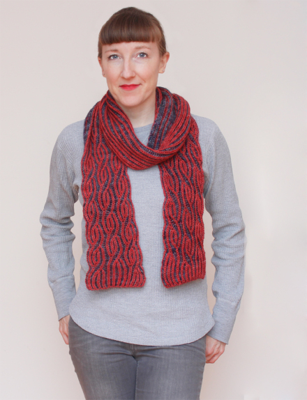 knitting pattern Brioche twister scarf by EastLondonKnit