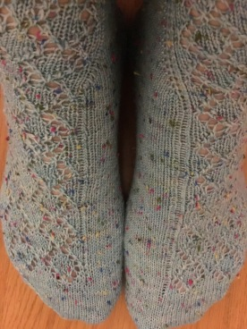 A close up of Good Karma by Dana Gervais knit in POP by Knitting in France